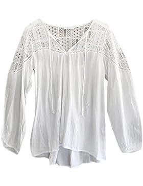 FEITONG Las mujeres de manga larga La gasa del cordón del ganchillo de la blusa T tapas de la camisa