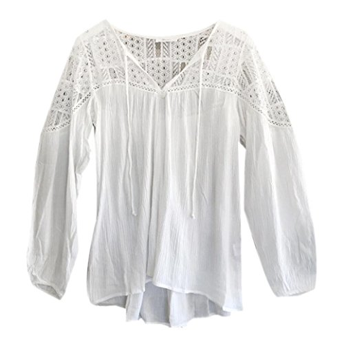 FEITONG Las mujeres de manga larga La gasa del cordón del ganchillo de la blusa T tapas de la camisa (L,