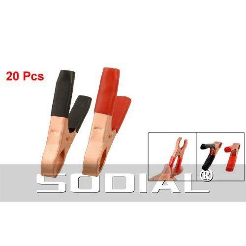 SODIAL(R) 20 x Clips de batterie rouge et noir pince crocodile mšŠtallique 50A