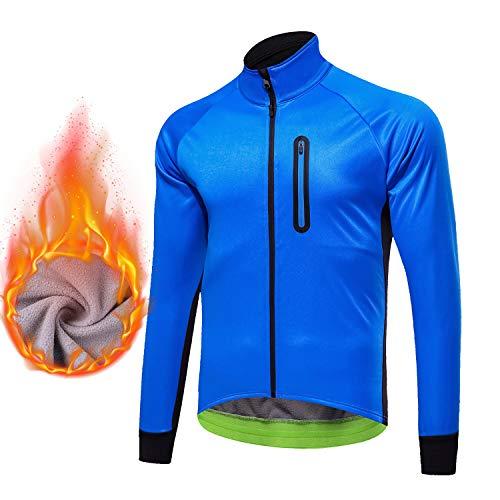 Hivexagon Wasserdichte Radjacke für Herren Winddicht Atmungsaktiv Leichte, warme Thermo-Langarmjacke mit Reißverschluss Ideal für MTB-Mountainbike SM014