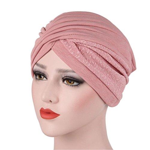 �cher Indien Hut Muslim Rüsche Krebs Chemo Hut Mütze Schal Kopf Wrap Kappe Damen Mode Patchwork Turban Kopfbedeckung Hut Multifunktionstuch Fashion Accesoire (Rosa) (Kostüme Von Indien)