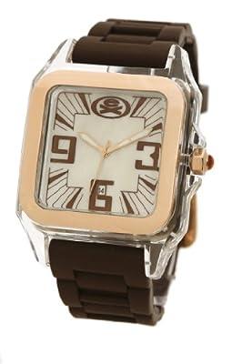 Extime e EX-26-G06 - Reloj de caballero de cuarzo, correa de silicona color marrón de Extime