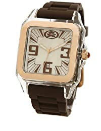 EX The Ego Watch with Rose Gold Dial and Brown Silicone Strap EX-26-G06
