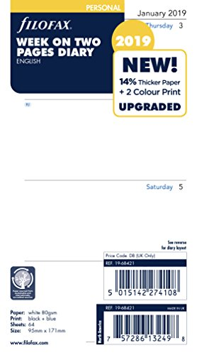 Filofax 19-68421 Personal Week On Two Pages English 2019 Diary