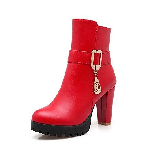 AgooLar Damen Rund Zehe Hoher Absatz Niedrig-Spitze Rein Stiefel mit Metallisch, Rot, 39