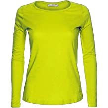 Camiseta de manga larga para mujer, cuello redondo, diseño liso.
