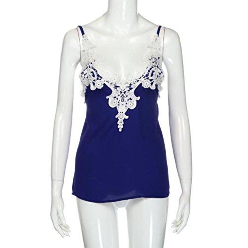 Ouneed® Femme Dentelle Débardeurs Brelette Camisole Lace Crop Caraco Bleu