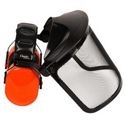 Gesichtsschutz und Gehörschutz mit klappbarem Visier aus Stahlnetz