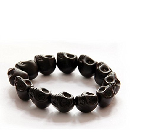 honeysuck Punk estilo calavera patrón pulsera tallada piedra gótico joyas pulsera (negro)