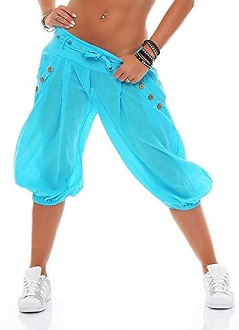 malito Pumphose kurz mit Gürtel Haremshose Uni-Farben 3416 Damen One Size (babyblau)