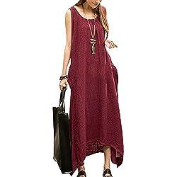Minetom Vestidos Elegantes Mujer Moda 2018, Vestido Maxi Largo Hippie Boho Mujer Verano para Cóctel Fiesta Playa Vino Rojo ES 36