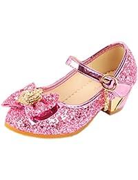 JTENGYAO Baby Girls Princess Shoes Glitter Dance Shoes Buckle Strap High Heels