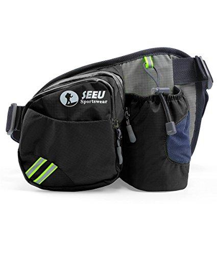 [Sport Hüfttasche] SHOWTIMEZ Hüfttasche Multi-Function Gürteltasche Wasserabweisende Bauchtasche Flache Taille Tasche mit Flaschenhalter zum Sport und - Mit Bauchtasche Flaschenhalter