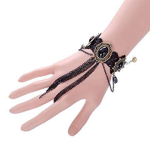 Frau Legierung Armband Retro Spitze Spitze Diamant Kreativ Verstellbar Quaste Armband,Black-L