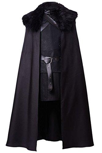 Manfis Cosplay Kostüm - Mittelalter Lord Kommandant der Nachtwache Herren Schwarz ()