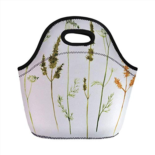 Portable Bento Lunch Bag,Watercolor,Wild Flowers Herbs and Twigs Wilderness Untamed Plants Ecological Art Decorative,Vermilion Dark Green,for Kids Adult Thermal Insulated Tote Bags