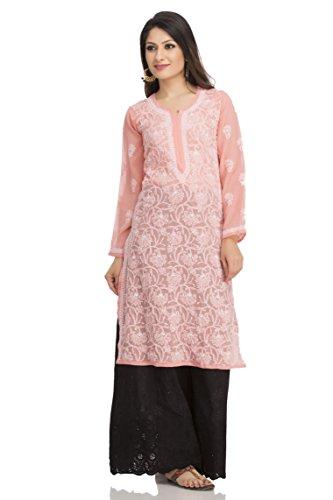 ADA Hand Embroidery Chikan Regular Fit Peach Kurti Dress in Georgette Casual...