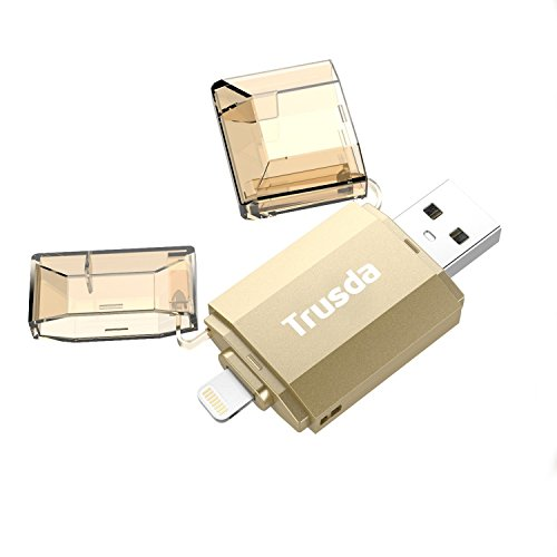 Trusda Pendrive USB3.0 e Connettore Lightning 32 GB Espansione di Memoria per iPhone/iPad, Trasferisce File Dati/Foto/Video tra Dispositivi iOS/Mac/PC (MFi Certificato, 32GB, Oro)