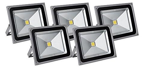 5x Showlite FL 2050LED Outdoor Flood Light (Flood Light, 50W, 5500Lumens, 4500K, Daylight White,