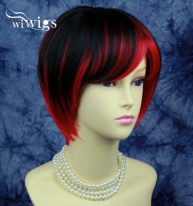 New Lovely kurz Cosplay Rot Mix schwarz Damen Perücken