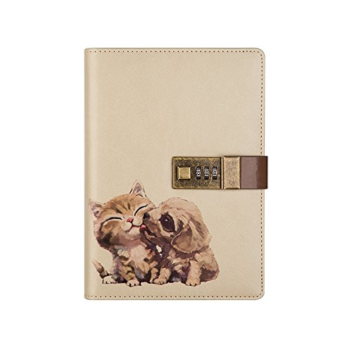 Nainaiwu Journal Notebook Travel Diary PU Leather Writing Notebook with Lock B6 Size Journal to Write in for Girls and Boys Printed Adorable Animal Notepad (Cat and Dog)