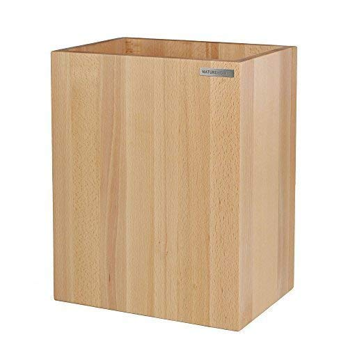 NATUREHOME Papierkorb CLASSIC aus Holz ohne Deckel I Papiereimer oder Mülleimer für Büro, Bad und Wohnzimmer aus Buchen-Holz Natur geölt I verarbeitet aus hochwertige Materialien im zeitloses Design