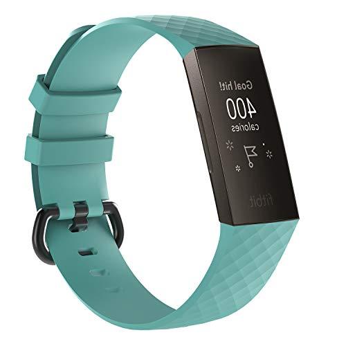 MyFitBands Sportarmband für Fitbit Charge 3, Metallverschluss, blaugrün, Größe S