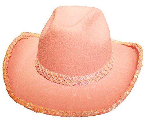 Cowboyhut in rosa mit Pailletten Hut für Cowboy Kostüm für Erwachsene (Rosa Pailletten Cowgirl Hut)