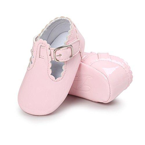 Bequeme und hübsche erste Wanderer für Baby-Mädchen Anti-Rutsch-und weiche Sole Leder Schuhe Prinzessin Schuhe mit Smooth Vamp für 0-18 Monate Mädchen (Rosa, M) Rosa