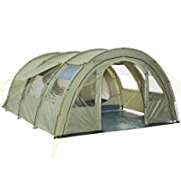 CampFeuer - Tunnel Tent with 2 Sleeping Compartments, Olive-Green, with Groundsheet and Movable Front Wall 25