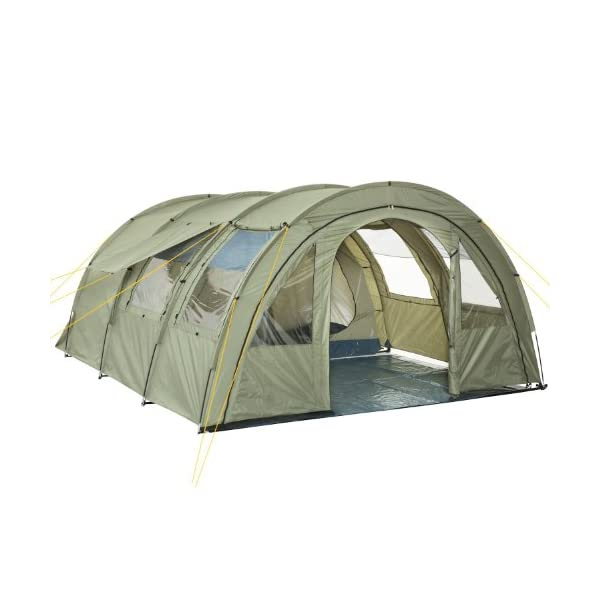 CampFeuer - Tunnel Tent with 2 Sleeping Compartments, Olive-Green, with Groundsheet and Movable Front Wall 1