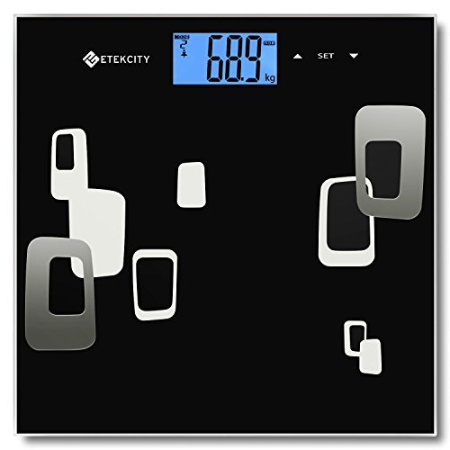 Etekcity Digitale Personenwaage mit Körperfettanzeige, 5kg-180kg, Slim Design, Schwarz