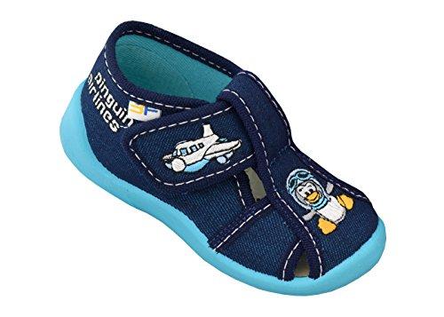 3f freedom for feet Jungen Babyschuhe Lauflernschuhe Kleinkind Neugeborene (Hausschuhe mit Leder Einlegesohlen) Größe 18 bis 25 (21, Pinguin 2B5/10)