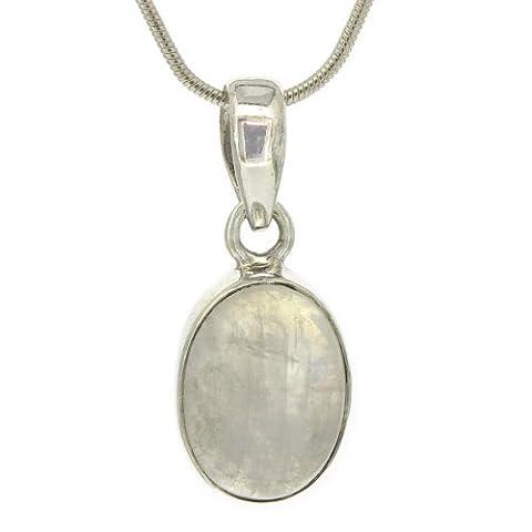 Nova Silver Bemine Small Oval Moonstone Pendant with 46cm Silver