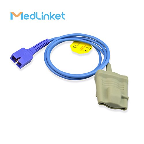 MED LINKET 9 Pin Reusable Adult Silicone Soft SpO2 Sensor Compatible with  Nellcor Covidien Medtronics N65, N550, N560, N595, N600, N751, N5500, 1M/3FT