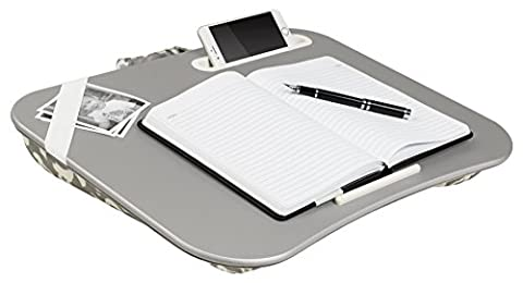 LapGear Lap Desk Designer XL 17 - Silver / Gray Damask, LapDesk Surface Supports up to 17.3
