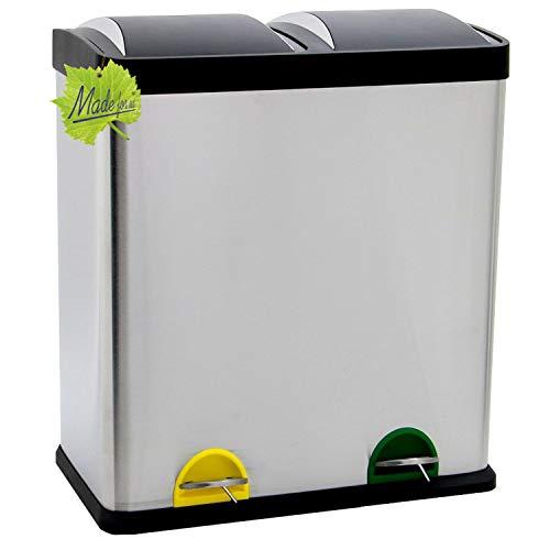 60 Liter Edelstahl-Tretabfalleimer, 2 x 30 Liter Mülltrennung