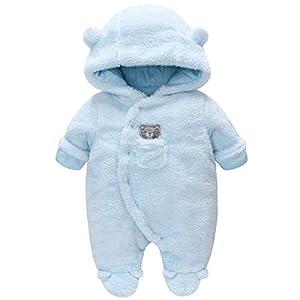 Vine Traje de Nieve Bebé Ropa de Invierno Footed Peleles Mameluco con Capucha Cálido Monos para Niños Niñas, Blanco 0-3… 8
