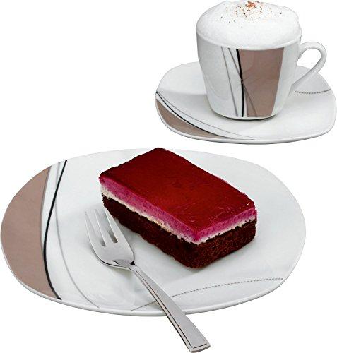 Gepolana Kaffeeservice 18-tlg. - 6 Kaffeetassen - 6 Untertassen - 6 Dessertteller - Porzellan -...