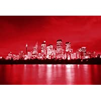 LARGE CANVAS ART PRINT RED SYDNEY ON WATER WALL ART PICTURE READY TO HANG 30 X 20 INCHES preiswert