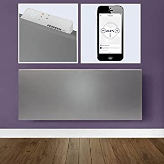 Adax NEO WIFI Modern Slimline Electric Wall Mounted Panel Heater, HOME AUTOMATION HEATING, IPX4, LOT 20 Compliant Efficient Eco friendly/Energy saving, Convector Radiator, 400W, Lava Grey