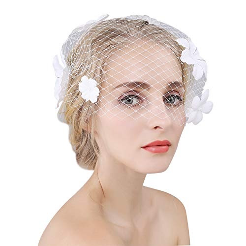 LONTG Brautschleier Hochzeit Softtüll Kurz Schleier Gesicht bedeckt Fascinator Party Kirche Kopfschmuck Braut Haarclip Haarreif Fest Schmuck Kopfstück Einheitsgröße Netzgewebe Kostüm Accessoires - Bedeckt Gesicht