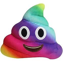 Almohada Grande de Caca Emoji Juguete– Emoticono Popo Sonriente Color Arcoíris – Cojín de Emoticon de Peluche Suave RegaloWhatsappPoop – Estilo Mierda 30x30cm Multicolor Clásico – Garantía