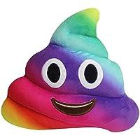 Kompanion Almohada de Caca Emoji Juguete– Emoticono Popo Sonriente Color Arcoíris – Cojín de Emoticon de Peluche Suave RegaloWhatsappPoop – Estilo Mierda 30x30cm Multicolor Clásico – Garantía