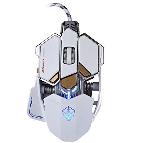 Yusun 4000DPI 10Knöpfe LED optische Professionelle USB Gaming-Maus (weiß)