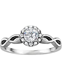 Silvernshine 1.16 Cttw White Clear Diamond CZ 10k White Gold Plated Wedding Engagement Ring