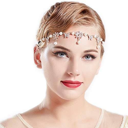 Zubehör Schmetterling Kostüm - Coucoland 1920s Stirnband Damen Gatsby Accessoires Retro Stirnkette 20er Jahre Haarband Kopfschmuck Fasching Kostüm Zubehör (Schmetterling)