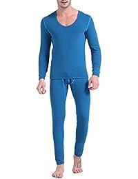 Hommes Ensemble de Sous-vêtements Thermiques Sous-pull T-shirt Pantalon Chaud Hiver Automne