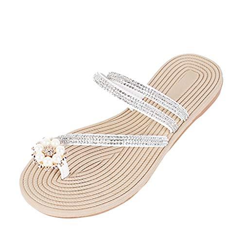 r Sandalen Bohemian Flach Sandaletten Sommer Strand Schuhe,Freizeitschuhe Sommer weibliche Flache bbottom Strass Zehe Hausschuhe Strandschuhe ()