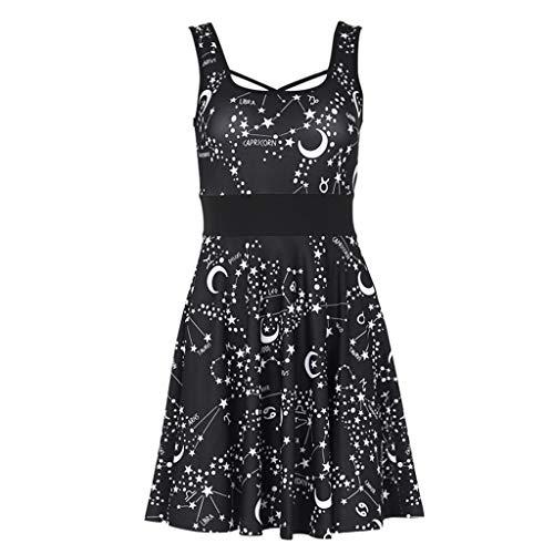 UFODB Gothic Kleid Damen, 2019 Frau Steampunk Stil Latzkleider Retro Moon Vintage Punk Schwarz ärmellos Kleider Kostüm Cosplay Kleidung Für Karneval Fasching Hallowee (Button Moon Kostüm)